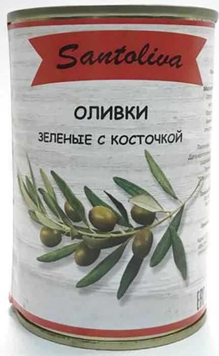 Овощные консервы Santoliva Оливки зеленые с косточкой, жестяная банка, 300 г guerola оливки зеленые сорта кампо реал с косточкой 2 25 кг