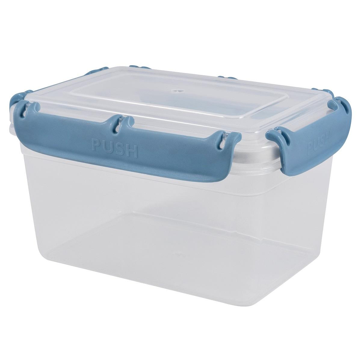 Контейнер пищевой Plast Team Bergen, с защелками, PT1044-10, туманно-голубой, 1,3 л контейнер пищевой plast team цвет голубой прозрачный 0 6 л