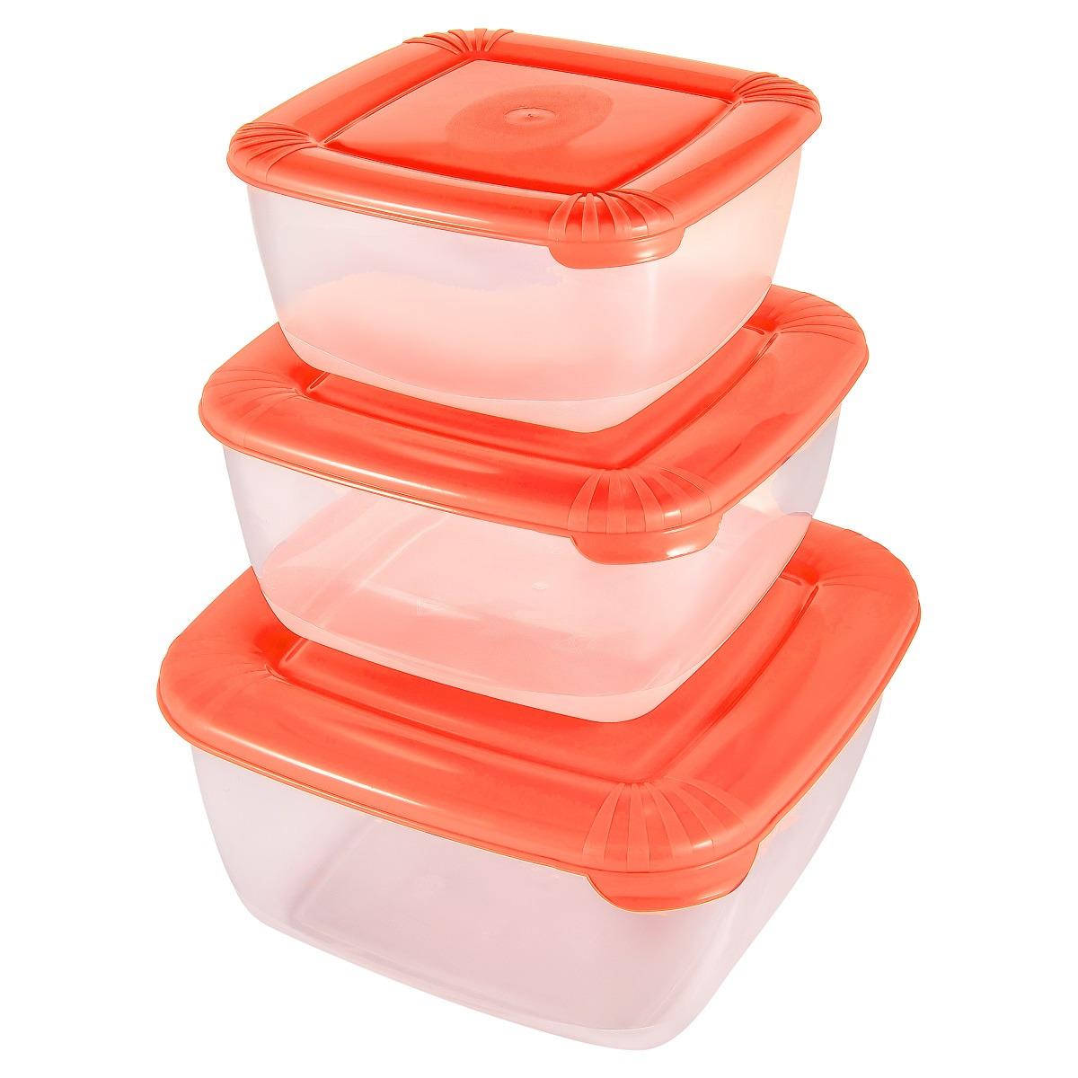 Набор емкостей для продуктов Plast Team Polar, PT1680-6, коралловый, 3 шт
