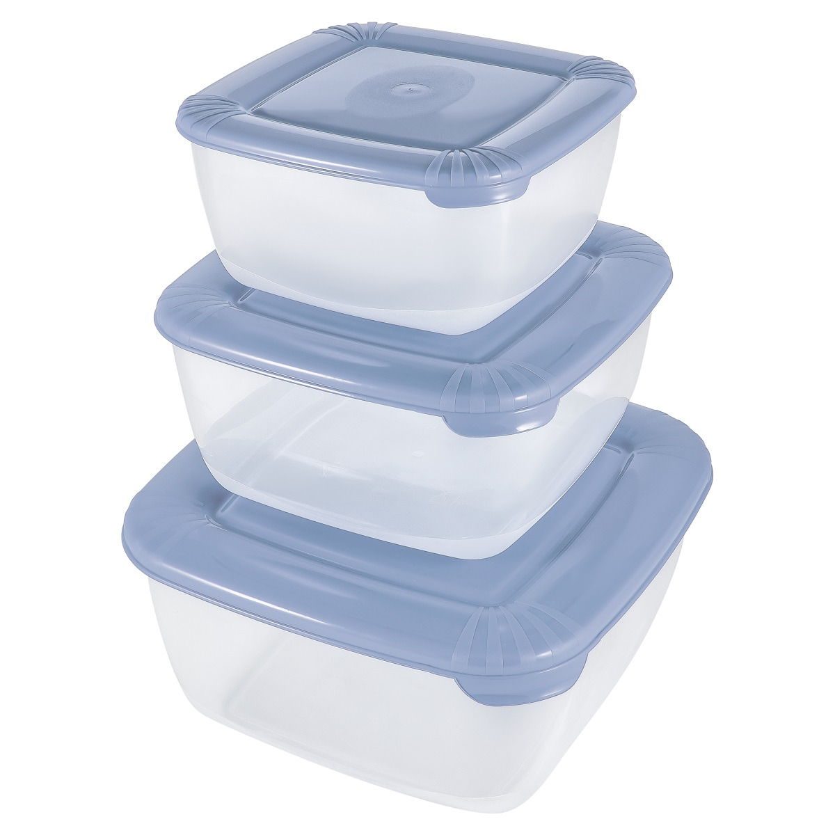 Набор емкостей для продуктов Plast Team Polar, PT1680-6, туманно-голубой, 3 шт