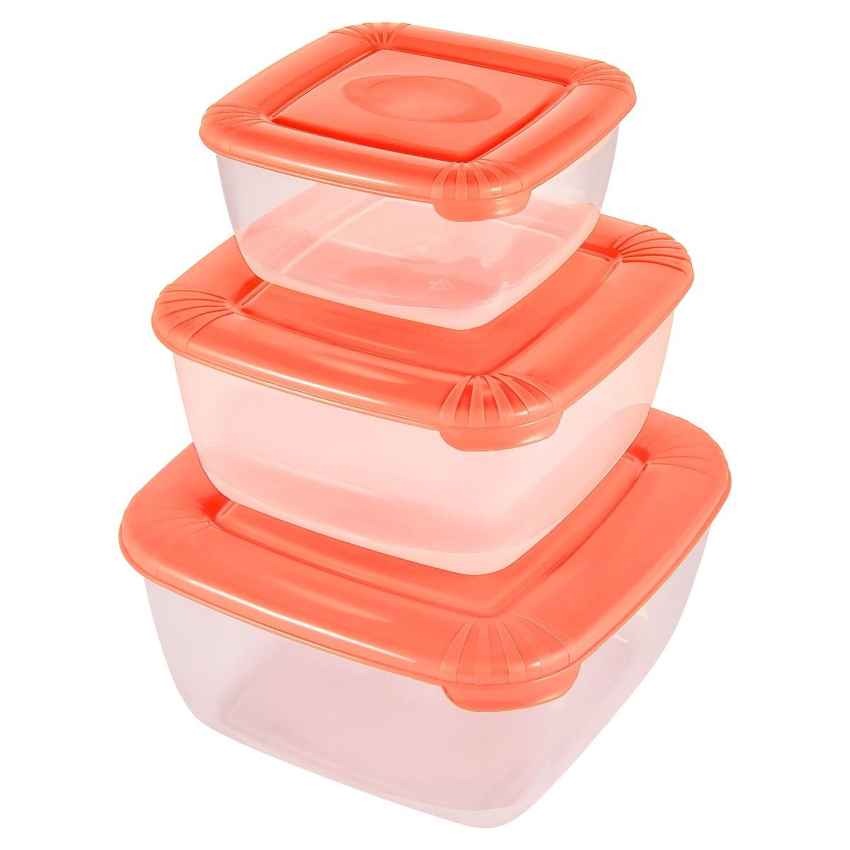 Набор емкостей для продуктов Plast Team Polar, PT1683-8, коралловый, 3 шт емкость для хранения продуктов plast team pattern 0 8 л