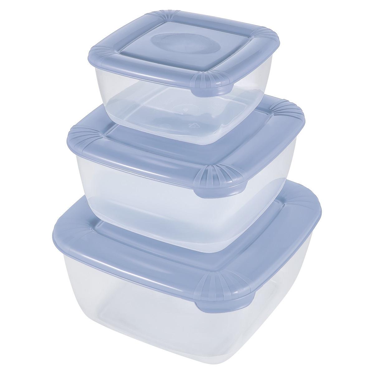 Набор емкостей для продуктов Plast Team Polar, PT1683-8, туманно-голубой, 3 шт емкость для хранения продуктов plast team pattern 0 8 л