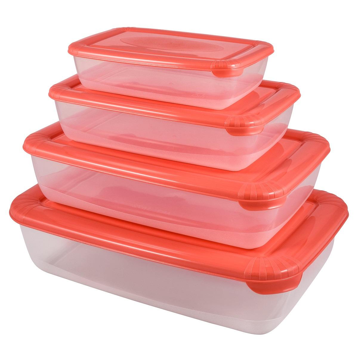 Набор емкостей для продуктов Plast Team Polar, PT1686-6, коралловый, 4 шт емкость для хранения продуктов plast team pattern 0 5 л