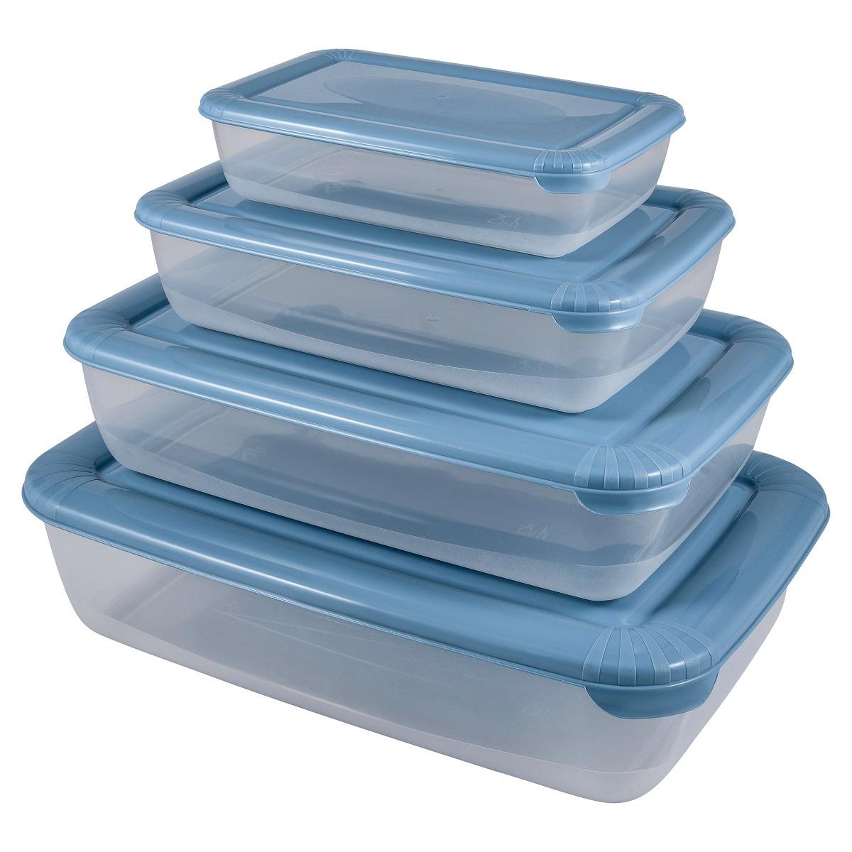 Набор емкостей для продуктов Plast Team Polar, PT1686-6, туманно-голубой, 4 шт емкость для хранения продуктов plast team pattern 0 5 л