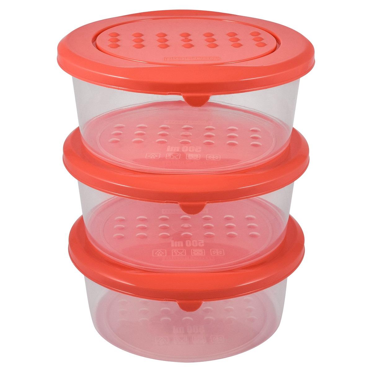 Набор емкостей для продуктов Plast Team Pattern, PT9852-18, коралловый, 500 мл, 3 шт