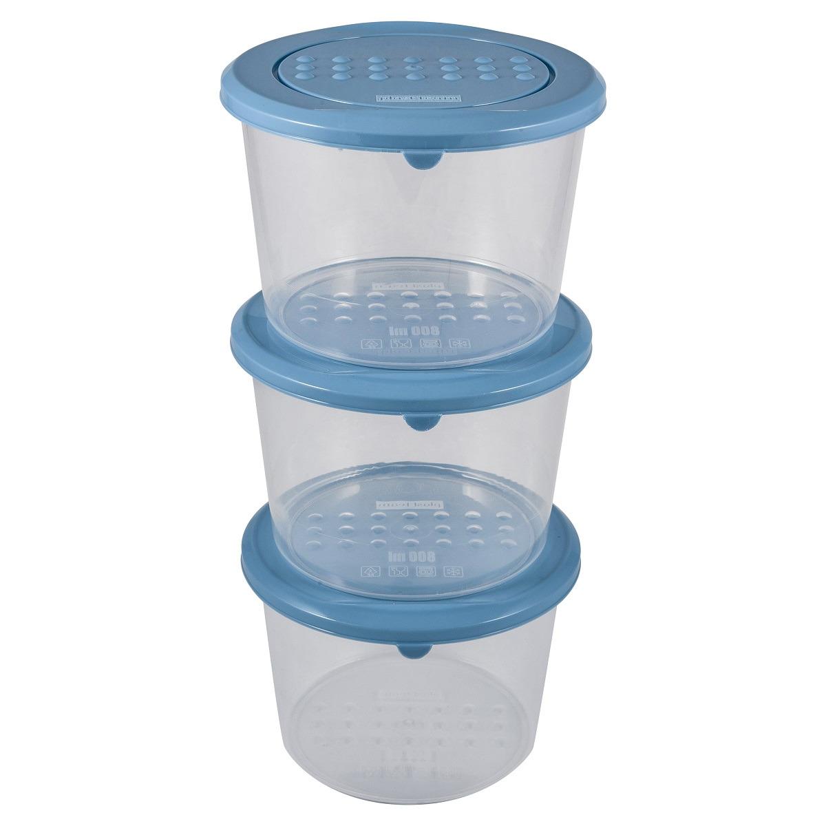 Набор емкостей для продуктов Plast Team Pattern, PT9853-12, туманно-голубой, 800 мл, 3 шт