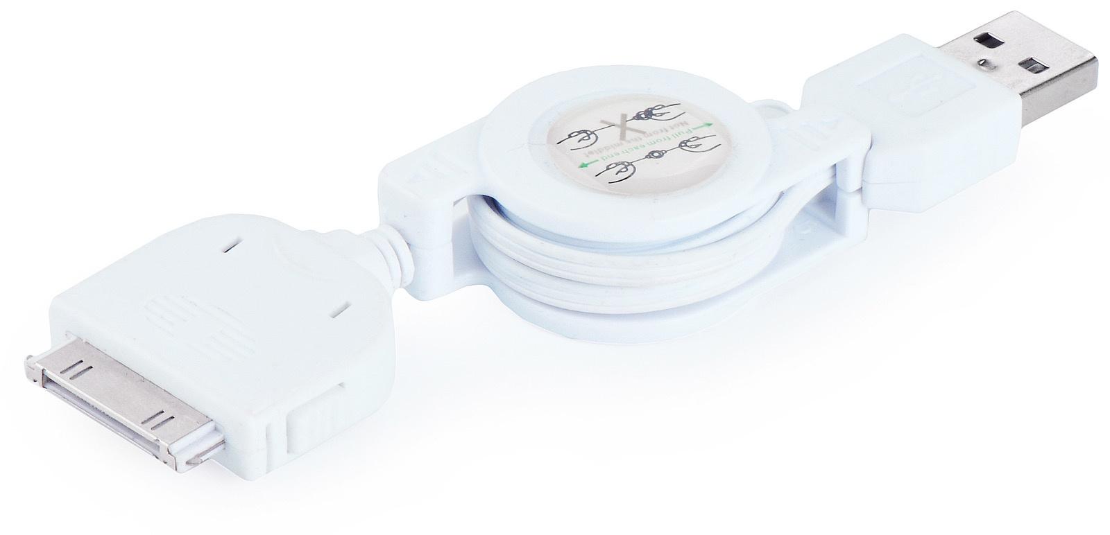 Кабель Gurdini рулетка для Apple iPhone, iPad, iPod, белый кабель hama 30 pin apple usb 2 0 черный 1м для apple iphone 3g 3gs 4 4s 00093577
