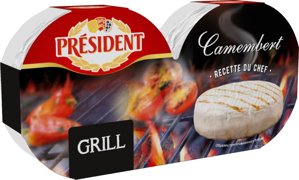 Сыр President Camembert Grill, мягкий, с белой плесенью, 250 г цена 2017