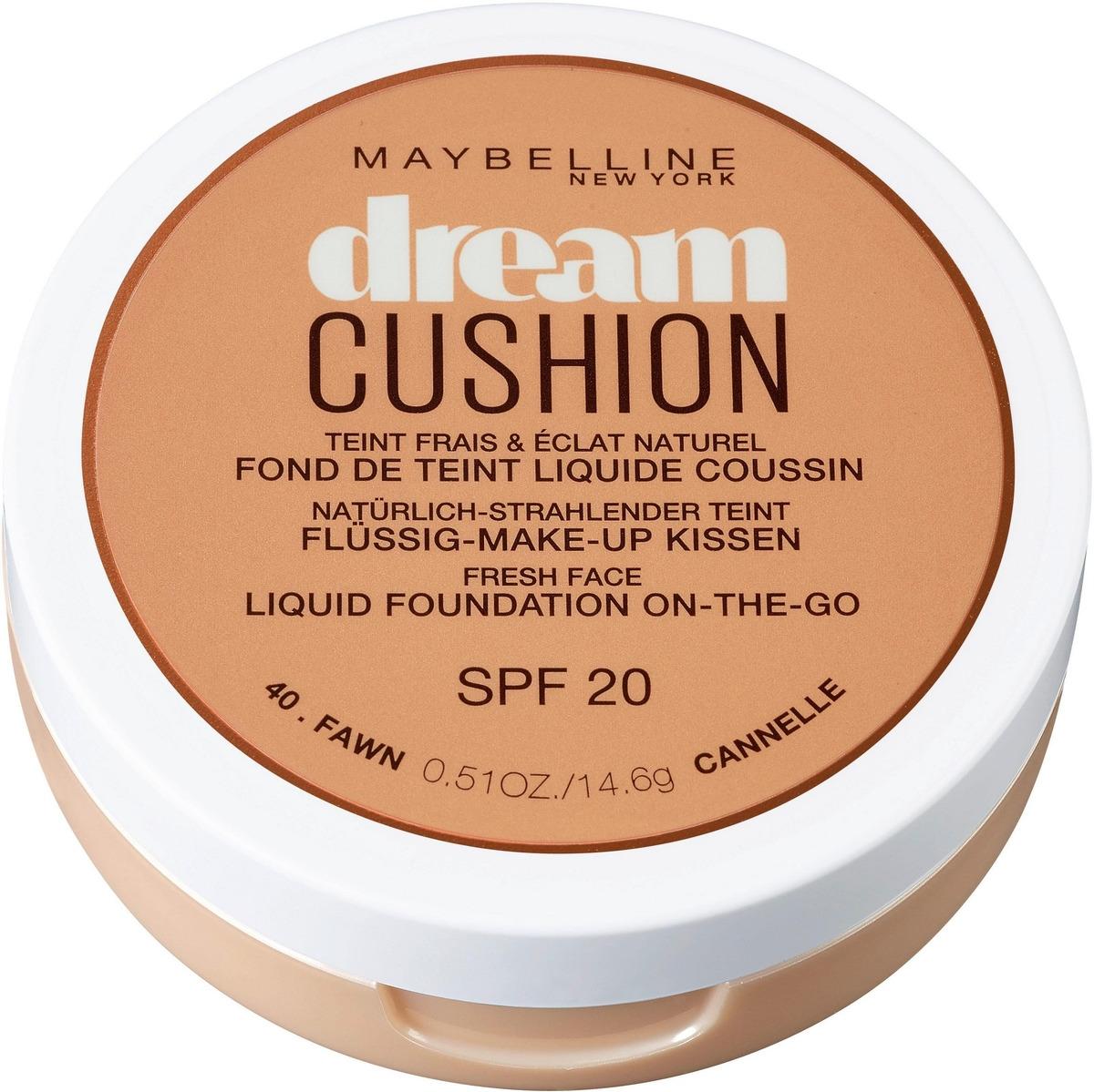 Maybelline New York Тональный крем-кушон для лица Dream Cushion, увлажняющий, оттенок 40 Fawn, SPF 20, 14,6 г
