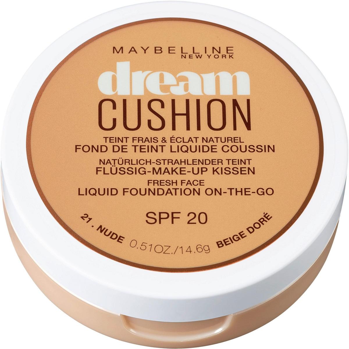 Maybelline New York Тональный крем-кушон для лица Dream Cushion, увлажняющий, оттенок 21 Nude, SPF 20, 14,6 г