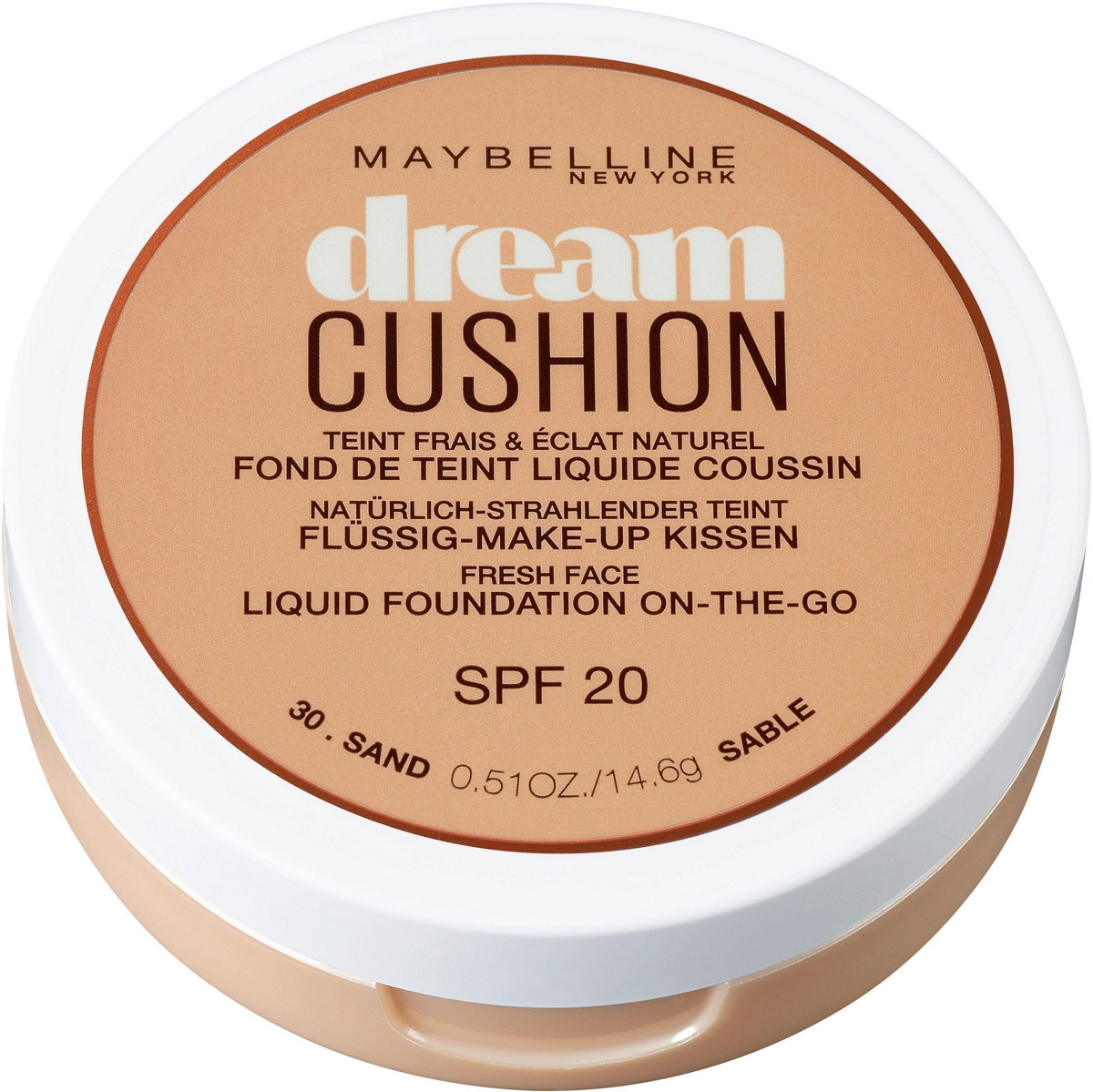 Maybelline New York Тональный крем-кушон для лица Dream Cushion, увлажняющий, оттенок 30 Sand, SPF 20, 14,6 г
