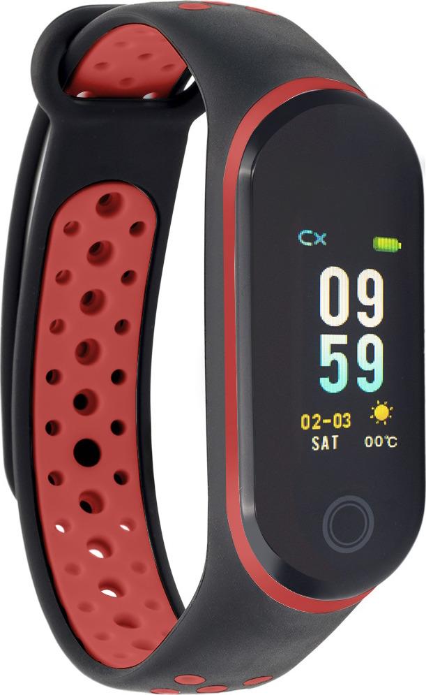 Фитнес-браслет Qumann QSB 10, черный, красный фитнес браслет xride s1 с мониторингом сердечного ритма orange