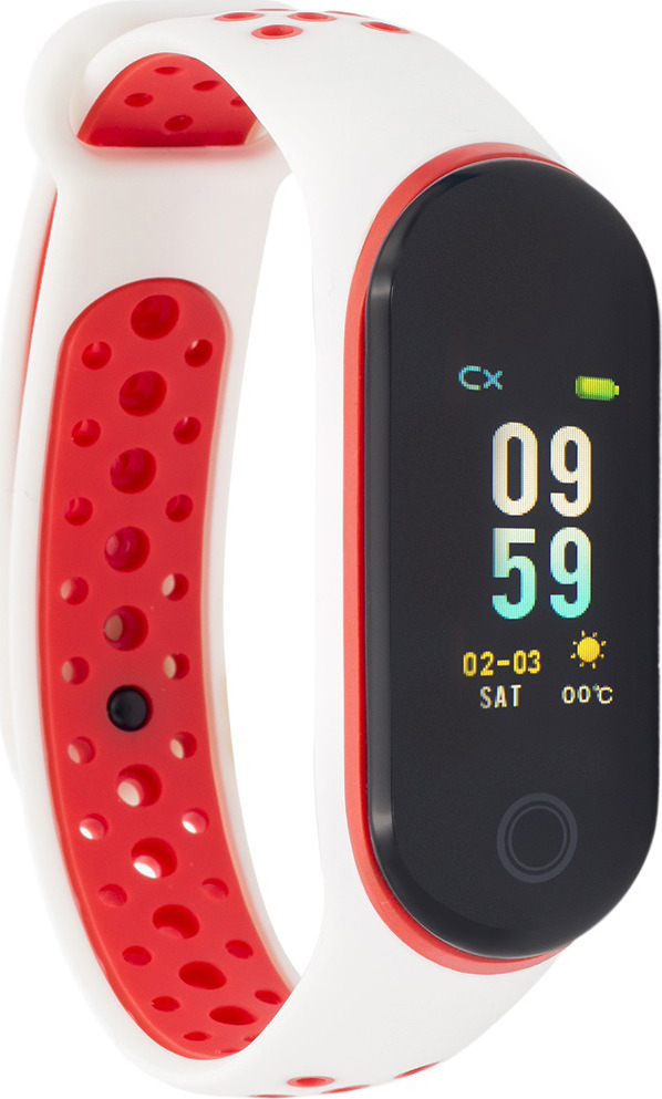 Фитнес-браслет Qumann QSB 10, белый, красный фитнес браслет xride s1 с мониторингом сердечного ритма orange