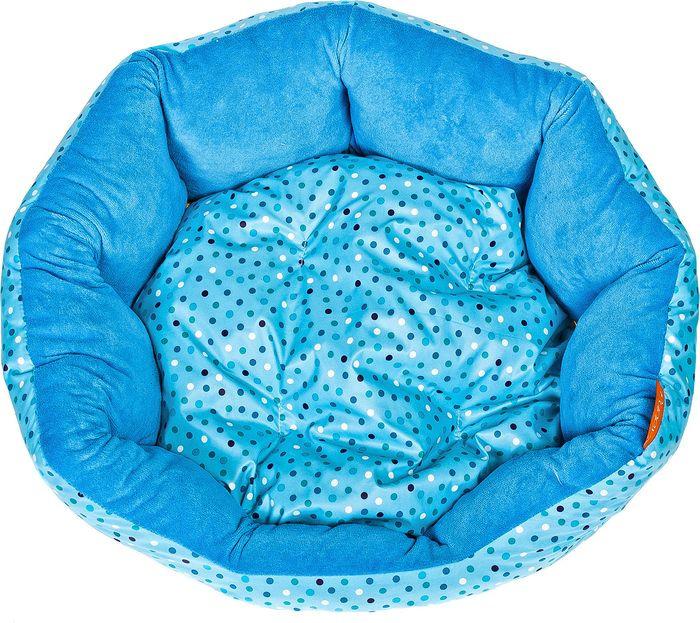 купить Лежак для собак Happy Puppy Горошек-2, HP-190011-2, голубой, 50 х 40 х 15 см по цене 1200 рублей