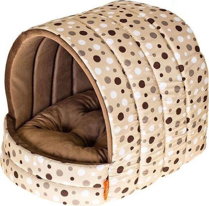 лучшая цена Домик для собак Happy Puppy Горошек, HP-190006, бежевый, 40 х 40 х 40 см