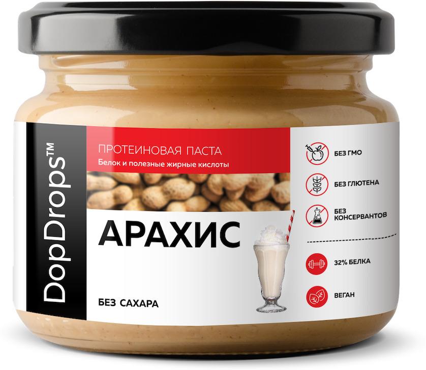 Протеиновая паста DopDrops Арахис без добавок, 250 г паста dopdrops арахис морская соль стевия 265 г