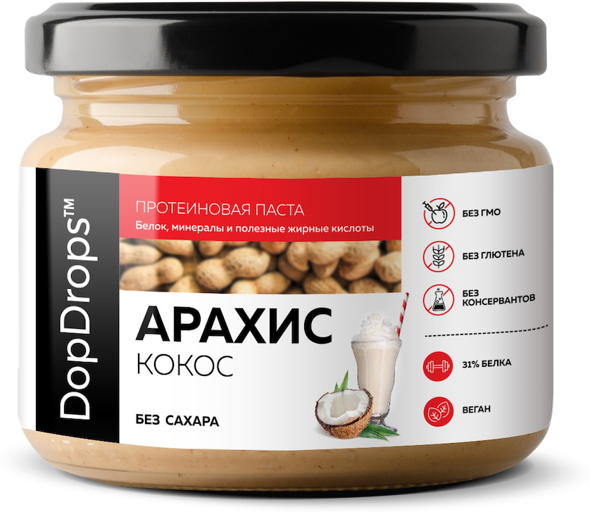 Протеиновая паста DopDrops Арахис Кокос, монк фрукт, 250 г паста dopdrops арахис морская соль стевия 265 г