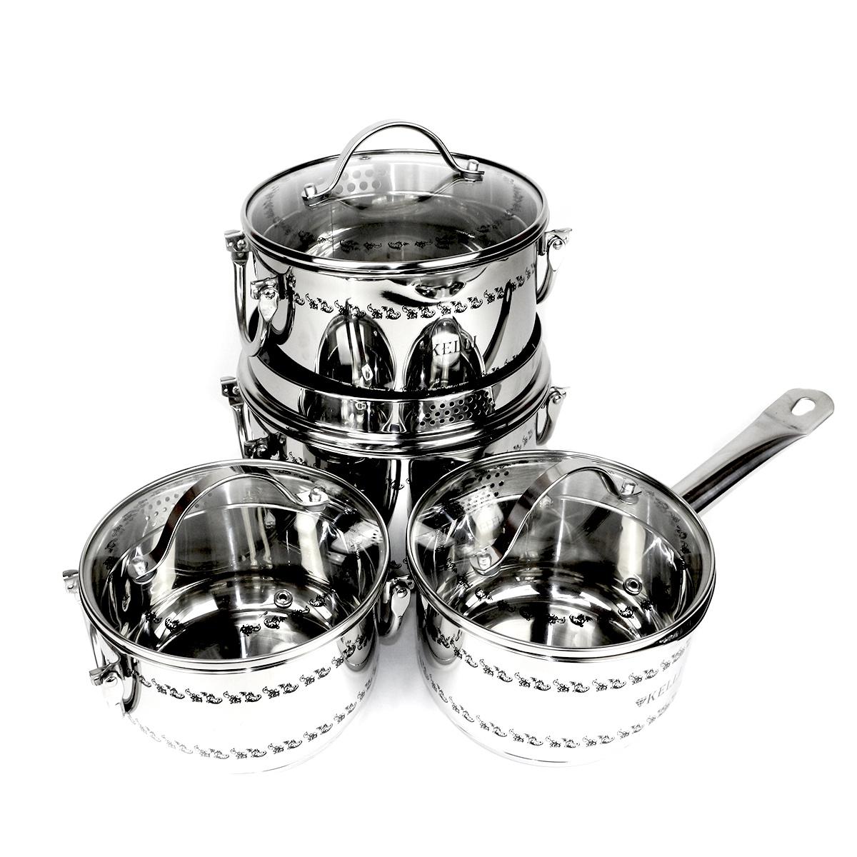 Фото - Набор посуды для приготовления Kelli 4263, Нержавеющая сталь [супермаркет] jingdong геб scybe фил приблизительно круглая чашка установлена в вертикальном положении стеклянной чашки 290мла 6 z