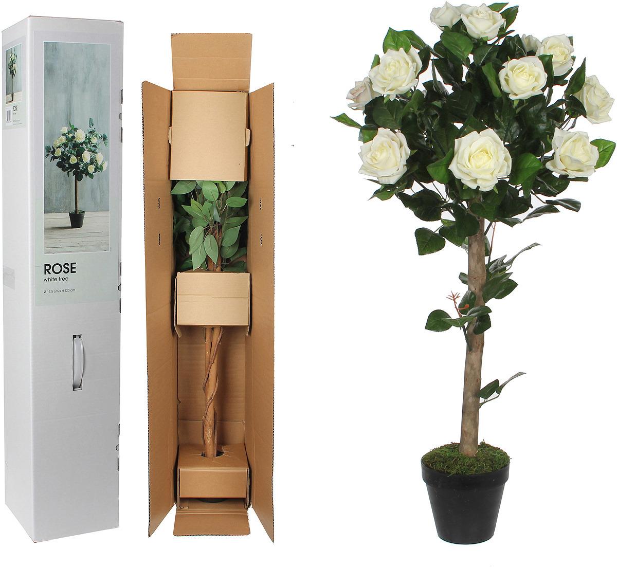 Искусственные цветы Mica Роза в кашпо, высота 140 см искусственные растения valiant муляж лук с перцем в связке желтый 60см шт