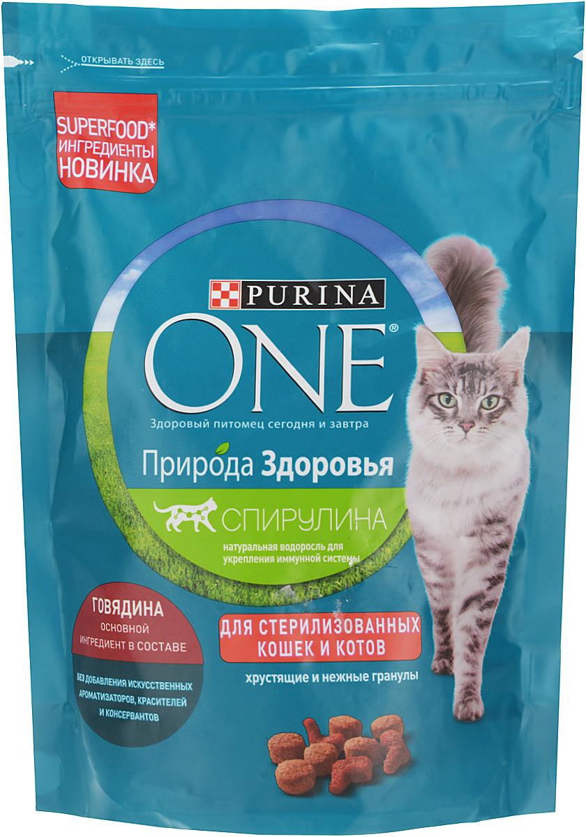 Корм сухой One Dual Nature Sterilized Beef, для кошек, 180 г корм для стерилизованных кошек и котов purina one с лососем и пшеницей 200 г