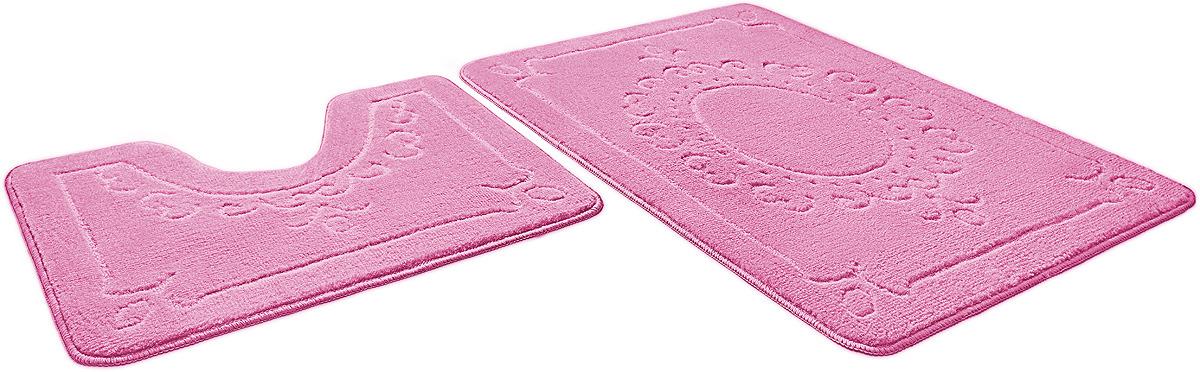 Набор ковриков для ванной Shahinteх, 7317, розовый, 2 шт