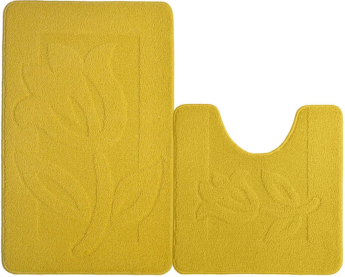 """Набор ковриков для ванной комнаты """"Kamalak Tekstil"""", цвет: желтый, 2 шт"""