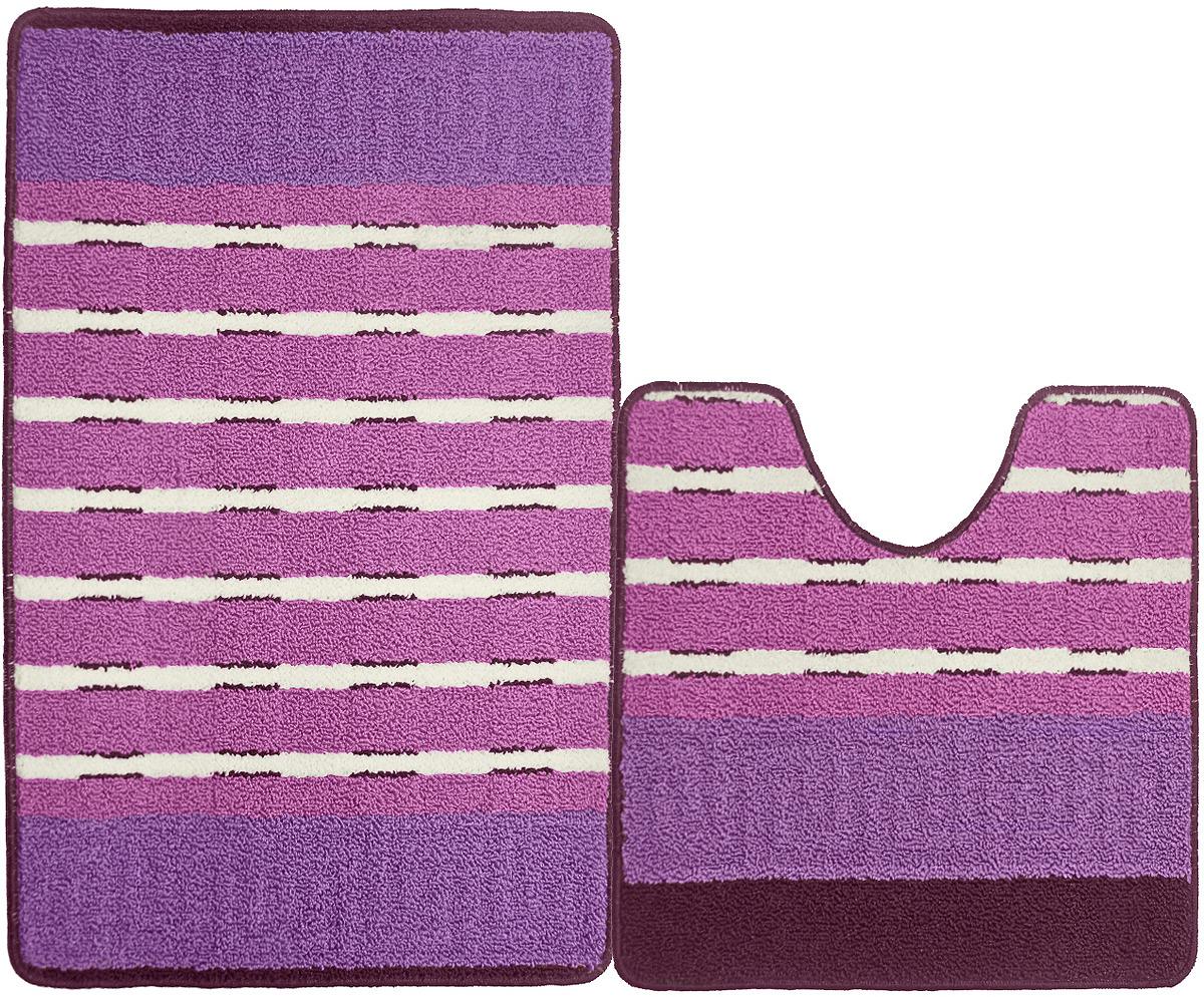 цены Набор ковриков для ванной Kamalak Tekstil, УКВ-1074, фиолетовый, 2 шт