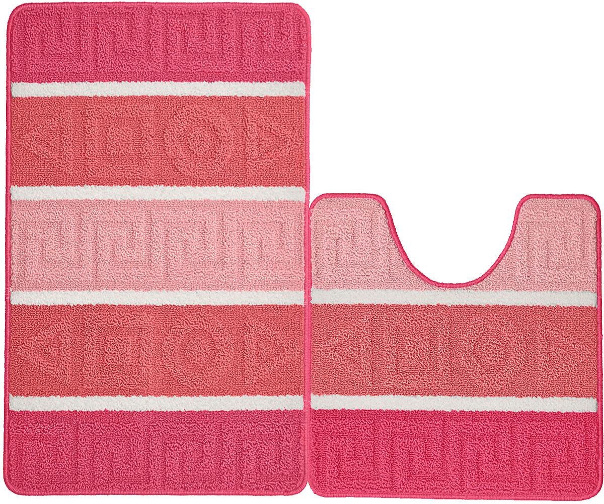 Набор ковриков для ванной Kamalak Tekstil, УКВ-1092, розовый, 2 шт