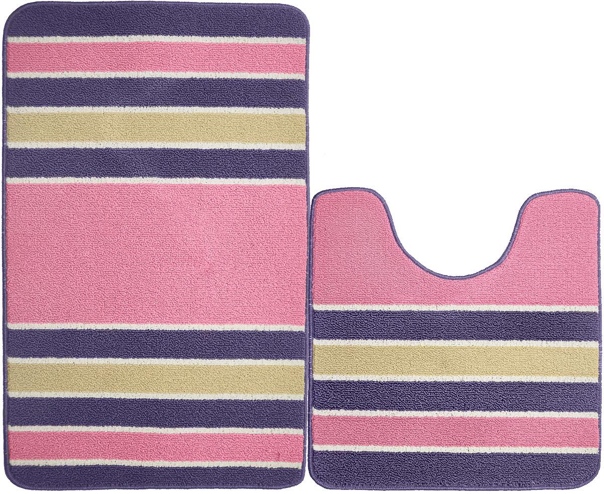 Набор ковриков для ванной Kamalak Tekstil, УКВ-1094, разноцветный, 2 шт
