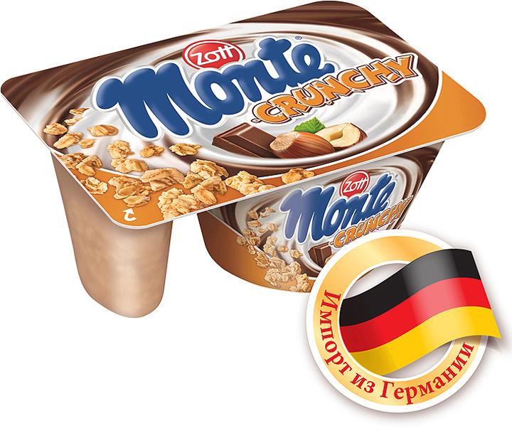 Десерт MonteZott Monte Crunchy 13,3% , с шоколадом и фундуком, 125 г