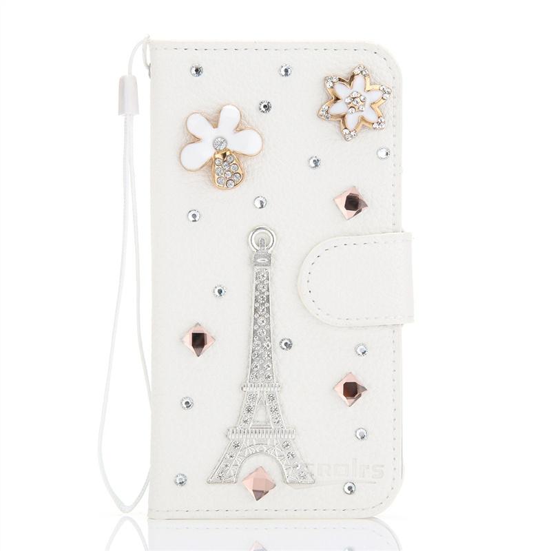 Чехол из искусственной кожи с магнитной крышкой для LG G4 Beat / G4s со стразами, отделениями для карт и шнурком,