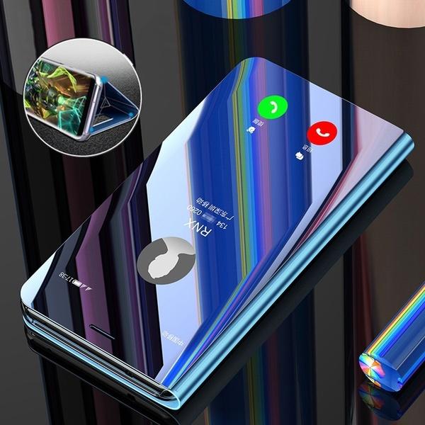 Чехол для сотового телефона Роскошный флип-кожаный футляр Смарт-зеркало Плюс для Apple iPhone X Цвет: золотой