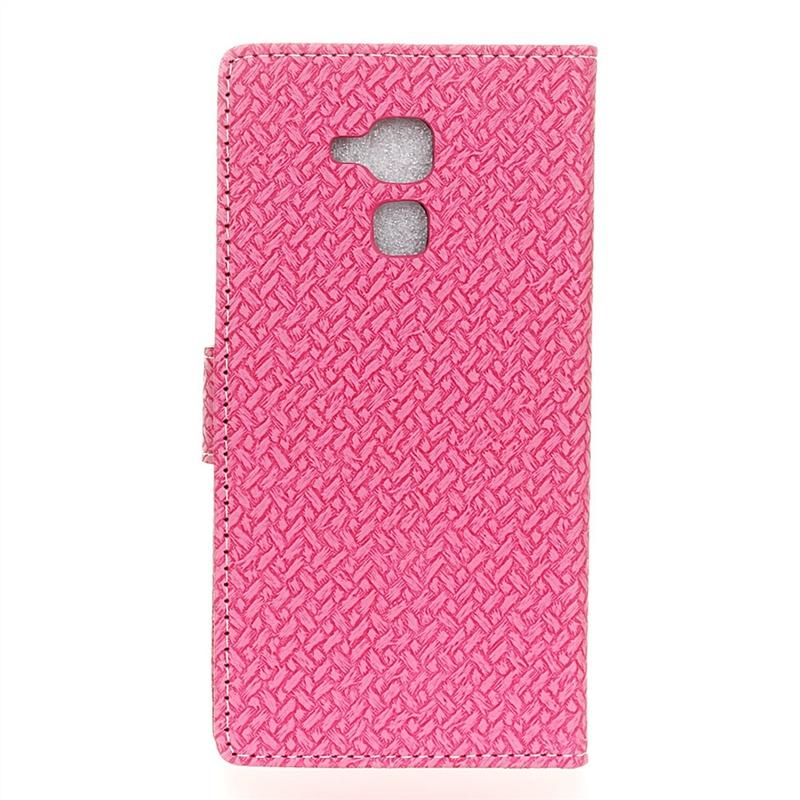 Розовый чехол-подставка с магнитной застежкой и отделениями для карт для Huawei Honor 7 Lite