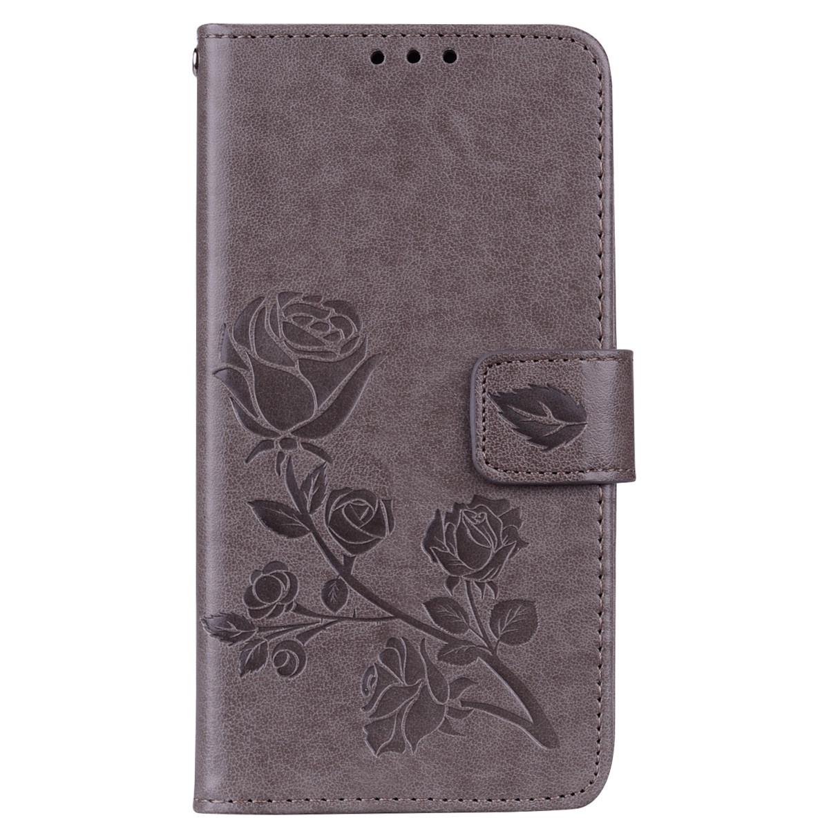 Кожаный чехол-подставка с магнитной застежкой, принтом (цветы) и отделениями для карт для Xiaomi Redmi 5A