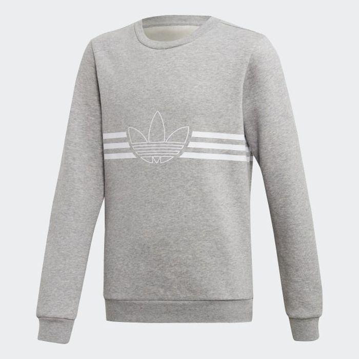 Свитшот для мальчика Adidas Outline Crew, цвет: светло-серый. ED7856. Размер 176 шлепанцы мужские adidas duramo slide цвет светло серый b44298 размер 6 38