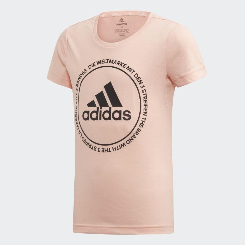 Футболка для девочки Adidas Yg Tr Prime Tee, цвет: розовый. ED6330. Размер 140 лонгслив для девочки batik цвет розовый ds0143 4 размер 140