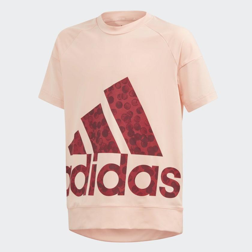 Футболка для девочки Adidas Yg Tr St Tee, цвет: розовый, бордовый. ED6309. Размер 140 лонгслив для девочки batik цвет розовый ds0143 4 размер 140