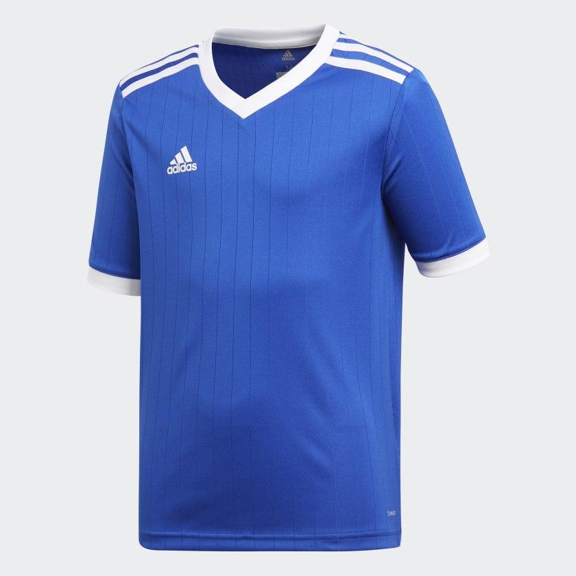 Футболка для мальчика Adidas Tabela 18 Jsyy, цвет: ярко-синий, белый. CE8916. Размер 152 куртка для мальчика huppa stevo цвет темно синий 17990055 00086 размер 152