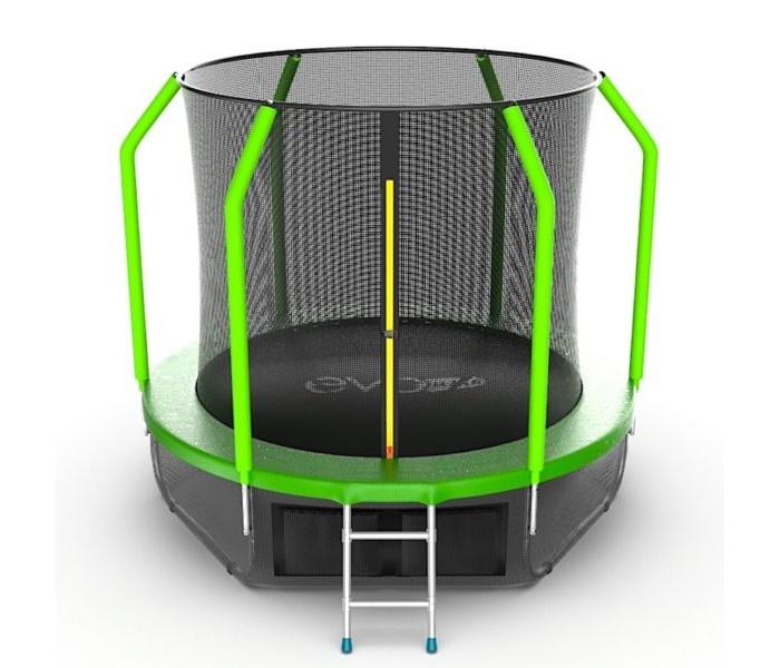 Батут с внутренней сеткой и лестницей, диаметр 8ft (зеленый) + нижняя сеть EVO JUMP Cosmo 8ft (Green) + Lower net. батут 8ft 2 44м