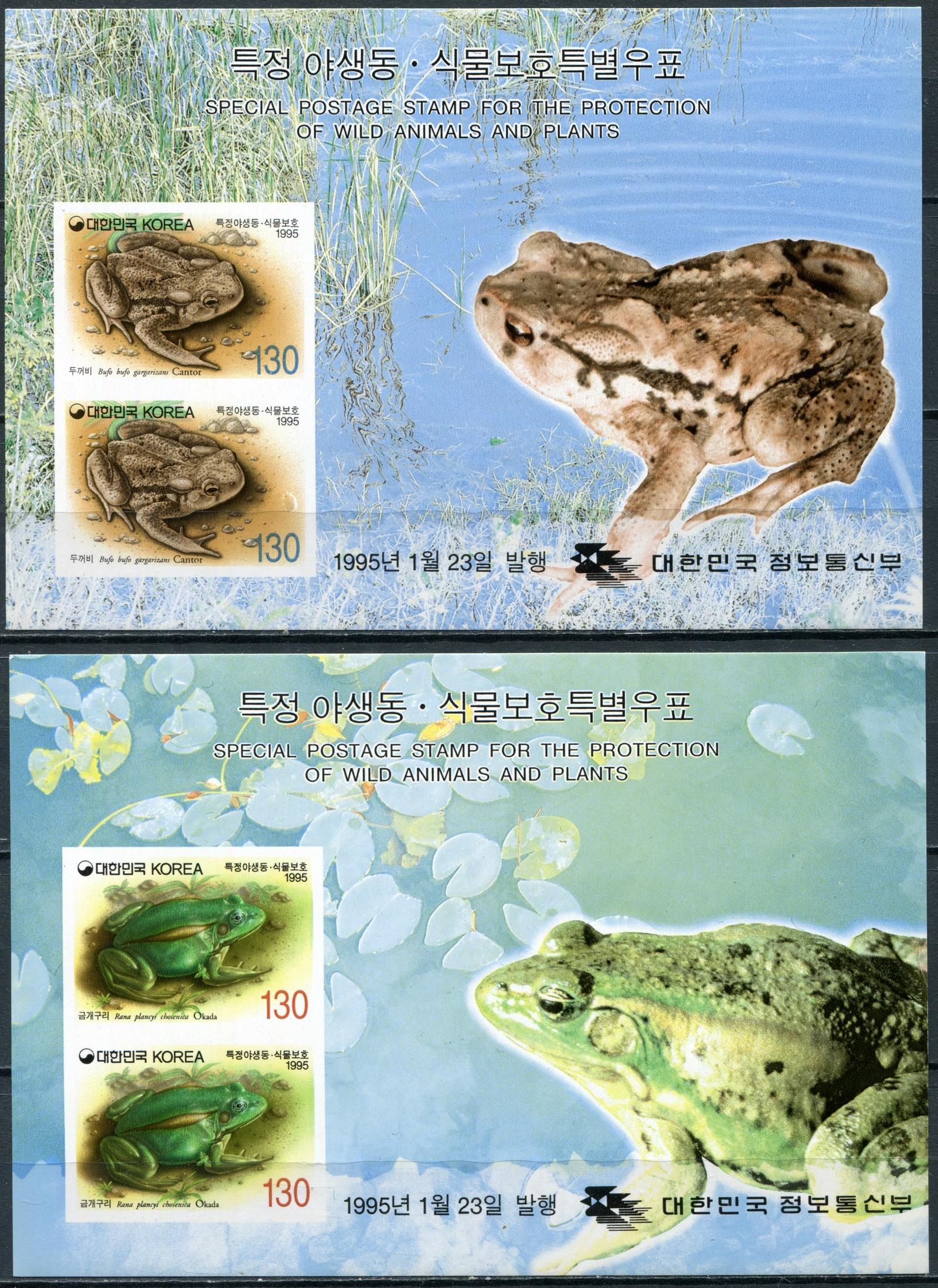 цены Южная Корея. 1995. Лягушки (Серия блоков. MNH OG)