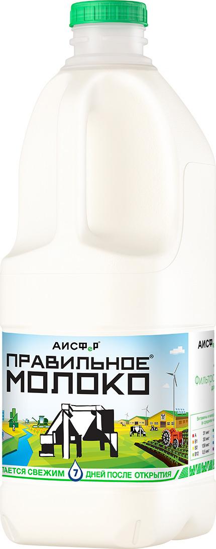 Молоко ПравильноеМолоко, питьевое, пастеризованное, 2,5%, 2 л