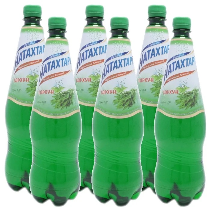Газированный напиток Натахтари Тархун 1 литр, упаковка 6 штук,