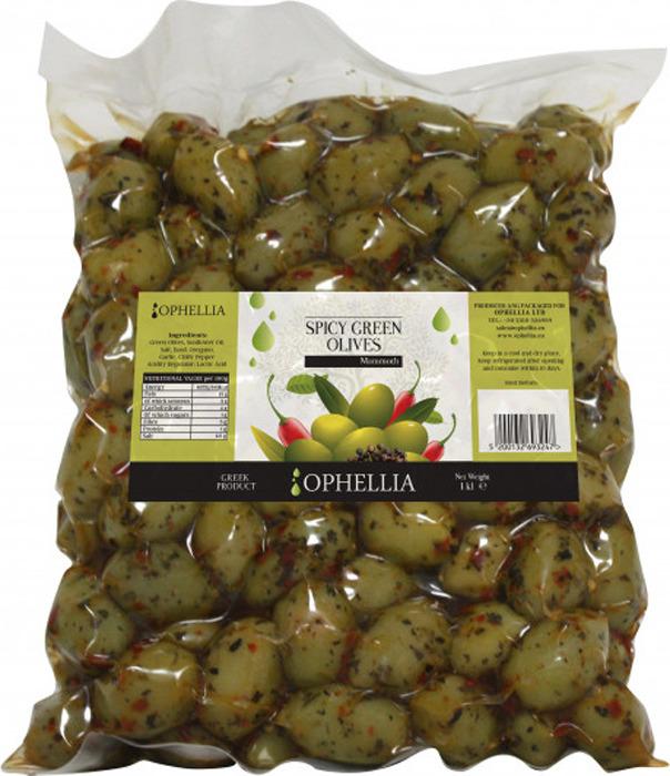 Овощные консервы Ophellia Jumbo Оливки Каламата с острыми специями, 1 кг