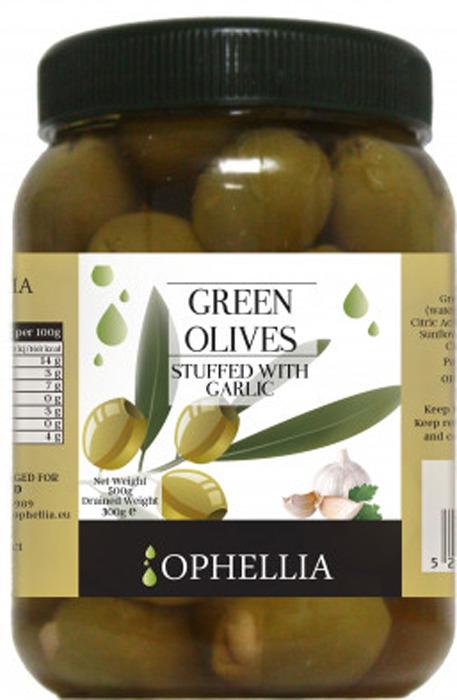 Овощные консервы Ophellia Оливки зеленые фаршированные чесноком, 500 г цена