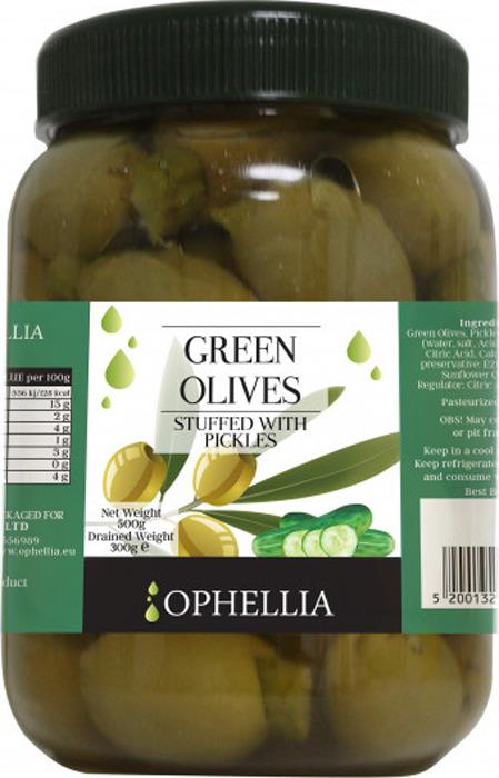 Овощные консервы Ophellia Оливки зеленые фаршированные корнишонами, 500 г мини батут складной кмс 54 диаметр 138 см зеленые