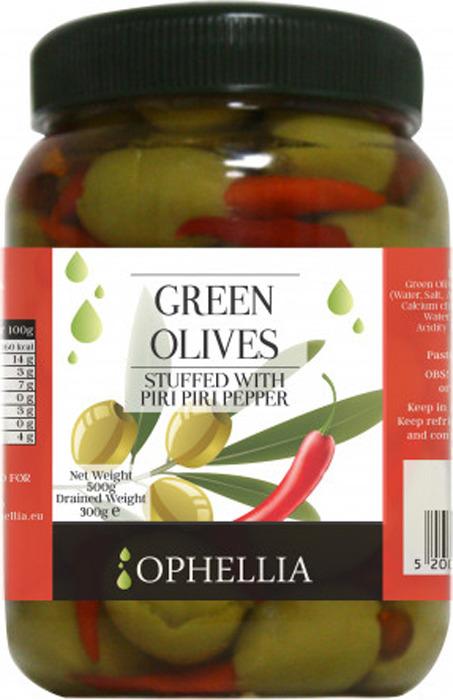 цены на Овощные консервы Ophellia Оливки зеленые фаршированные острым перцем пири-пири, 500 г  в интернет-магазинах