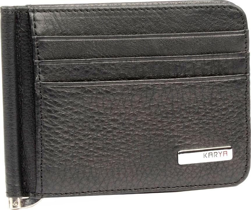 Зажим для купюр Karya dor flinger из натуральной кожи черный 0042 12 632 black df зажим для денег