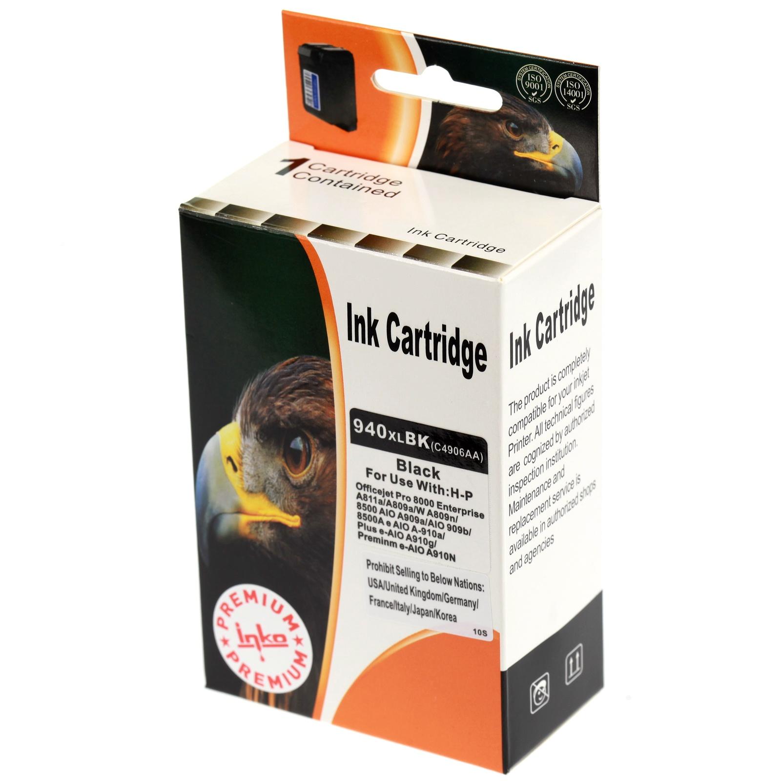 Картридж Inko для HP 940 XL черный повышенной емкости картридж струйный hp 940 c4901a для hp officejet pro 8000 8500 8500a magenta cyan