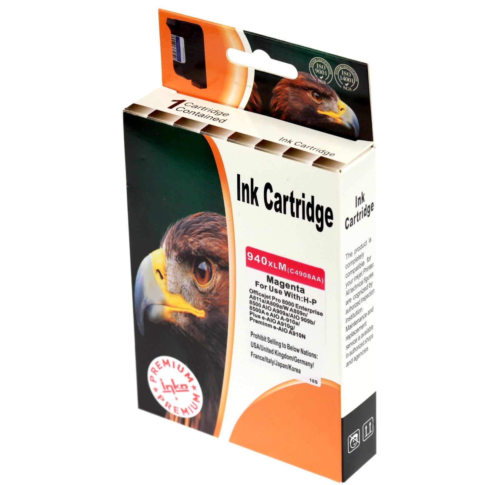 Картридж Inko для HP 940 XL пурпурный повышенной емкости картридж струйный hp 940 c4901a для hp officejet pro 8000 8500 8500a magenta cyan