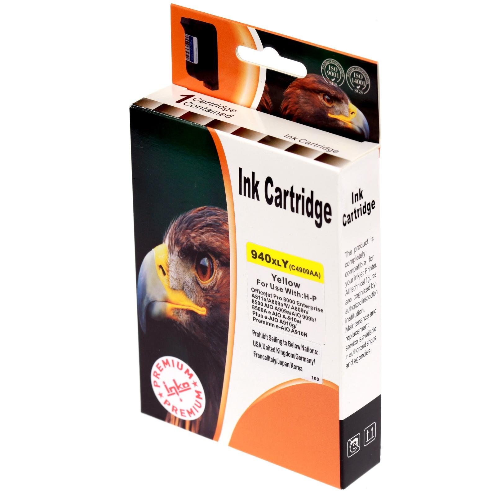 Картридж Inko для HP 940 XL желтый повышенной емкости картридж струйный hp 940 c4901a для hp officejet pro 8000 8500 8500a magenta cyan